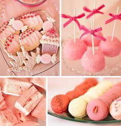 Pink Food, Velvet Bows, Victoria Sponge, Macarons.