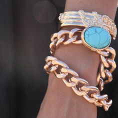 gold and turquoise bracelets