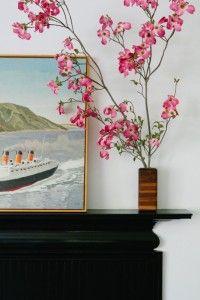 black mantel stillife with Duncan Hannah painting, Remodelista