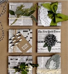 Easy & Creative Gift Wrapping Ideas - newspaper gift wrap with Pom Pom - Present Wrapping, Creative Gift Wrapping, Creative Gifts, Unique Gifts, Wrapping Papers, Cute Gift Wrapping Ideas, Gift Ideas, Wrapping Paper Ideas, Creative Gift Packaging
