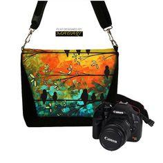 Digital Slr Camera Bag DSLR Camera Bag Purse Womens Camera Bag Case Zipper Padded - DELUXE Birds of a Feather MadArt - In Stock