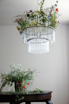 Test Tube Chandelier with Flowers, Pani Jurek