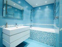 salle de bain bleu carreaux de sol lumineux