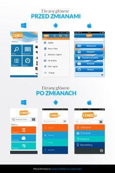 Ekrany główne w aplikacjach mobilnych Ceneo - przed i po zmianach.