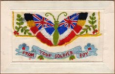 "An embroidered card, about Sent by a young man from the front to his girlfriend in Britain, it's signed, ""With best love from France. History Of Textile, Old Cards, Women In History, Embroidered Silk, Mail Art, Vintage Cards, Vintage Postcards, Line Drawing, Cross Stitch"