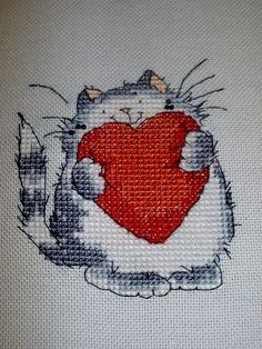 Margaret Sherry valentine cat with heart