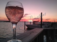 Wine and sunset on the dock