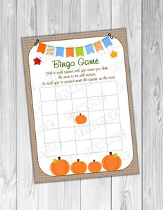 Pumpkin fall Baby shower games Bingo baby game Printable INSTANT DOWNLOAD  UPrint  by greenmelonstudios pumpkin baby shower by greenmelonstudios on Etsy