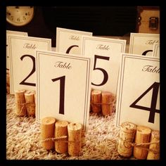wine cork table number stands.                                                                                                                                                     More
