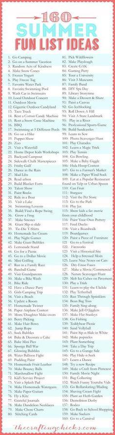 bucket list de novios Summer Bucket List Ideas-Fun Summer Activities for Kids - - Summer Fun List, Summer Kids, Summer Bucket List For Teens, Summer Food, Summer Activities For Kids, Activities To Do, Summer Games, Sleepover Activities, Sleepover Party