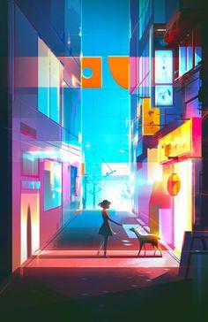 A ilustradoraJenny Yu cria belíssimas ilustrações que exploram incrivelmente bem o uso das cores e tons corretos, criando um efeito único de iluminação em suas ilustrações.