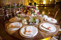 Detalhes da mesa dos convidados - Casamento Rústico-chique