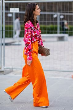 WEAR HEAD-TO-TOE COLOR. 31 Outfit Ideas for Every Day in July #purewow #street style #fashion #outfitideas #summer #style #trends #julyoutfits #summerstyle #summeroutfits #widelegpants #colorfuloutfits #brightoutfits