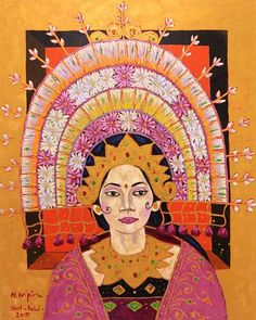 Signed Original Oil Portrait of a Balinese Janger Dancer - Janger Dancer II Indonesian Art, Wedding Invitation Inspiration, Oil Portrait, Balinese, Graphic Design Inspiration, Art Reference, Folk Art, Art Drawings, Dancer