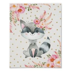 Woodland Raccoon Nursery Art Boho Floral Decor - watercolor gifts style unique ideas diy