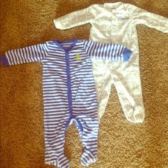 """Selling this """"2 baby boy sleepers"""" in my Poshmark closet! My username is: whitz98. #shopmycloset #poshmark #fashion #shopping #style #forsale #Carters #Other"""