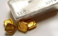 Silver bullion bar, four gold bullion bars | goldankauf-haeger.de
