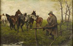 Zygmunt Józefczyk - KONIE, olej, płótno, 65,5 x 104 cm, sygn. p.d.: Z. Józefczyk 1919