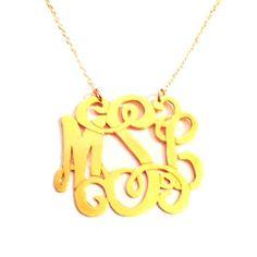 Metal Vine Monogram Necklace | Happy Clam MonogramHappy Clam Monogram