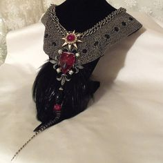 Beaded+Statement+Feather+Necklace+Dramatic+by+HopscotchCouture,+$277.00