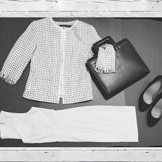 Classic. Feminine. Professional.  Add a tweed jacket to your outfit to make a statement in the office. #ootd #flatlay #fashion #ladiesstylebox #style #blackandwhitephotography #businesswoman #makeastatement #imageconsultant #dallasfashion #subscriptionbox