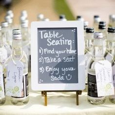 wedding seating cards on above here the soda bottles are used as seating cards favours and what