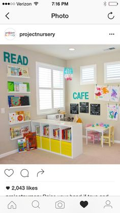 How to separate Jaelens desk area from the rest of the playroom ideen, Preschool Inspired Playroom - Project Nursery Playroom Organization, Playroom Decor, Kids Decor, Playroom Shelves, Small Playroom, Colorful Playroom, Toddler Playroom, Organization Ideas, Basement Storage