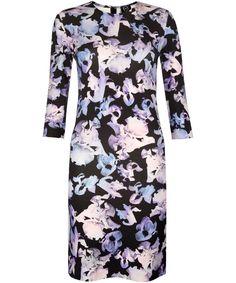 McQ Alexander McQueen Purple Iris Print Jersey Dress