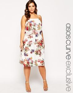 Enlarge ASOS CURVE Double Layer Midi Dress In Floral Print