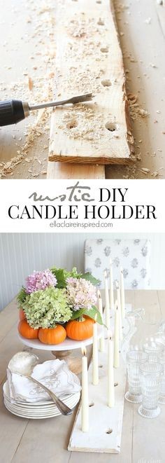 This DIY Rustic Candle Holder is the perfect addition to your holiday dinners and tablescapes by Ella Claire.