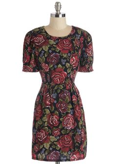 You Know How It Rose Dress - Multi, Floral, Casual, A-line, Short Sleeves, Fall, Woven, Short
