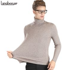 High-grade New 2017 Autumn Winter Youth Fashion Turtleneck Sweater Men Knitted Sweater High Elastic Mens Sweaters And Pullovers