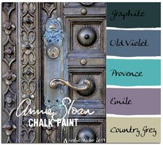bedroom colorway - Annie Sloan Chalk Paint® (ASCP) Graphite, Old Violet, Provence, Emile, Country Grey