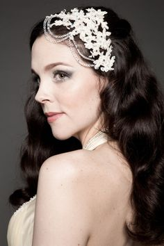 Image detail for -Bridal Headpiece - BL086   Champagne Lace with Crystal Headpiece ...