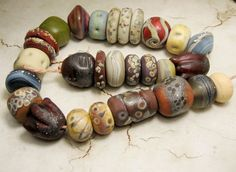 Lampwork Glass Beads Set SRA Matte Etched by StoneDesignsbySheila, $135.00