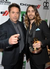 Robert Downey Jr. and Jared Leto, winner of the Hollywood breakout performance award, pose backstage at the 17th Annual Hollywood Film Awards at The Beverly Hilton - 10/21/13