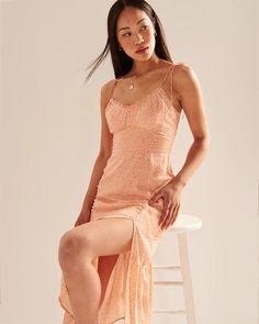 Women's Tie-Strap Ruched Midi Dress | Women's Dresses & Jumpsuits | Abercrombie.com Casual Dresses, Summer Dresses, Women's Dresses, Jumpsuit Dress, Fashion Boutique, Ideias Fashion, Runway, Jumpsuits, Tie