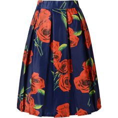 Choies Dark Blue Rose Floral Print Midi Skirt ($24) ❤ liked on Polyvore featuring skirts, choies, multi, blue skirt, rose skirt, mid calf skirt, blue floral skirt and floral printed skirt