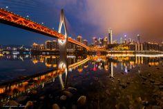 Qiansimen Bridge, Chongqing, China by Tianyuan Xiao on Chongqing China, Golden Gate Bridge, San Francisco Skyline, Skyscraper, Minimalism, Around The Worlds, Nyc, City Buildings, Urban Design