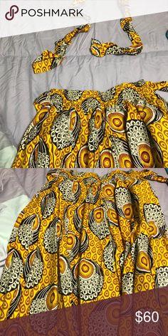 """e1b90df12de0 Ankara """"African"""" Print Maxi Skirt and Head Wrap Traditional ankara  print african wax"""