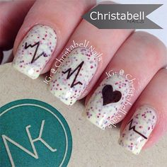 Valentines Day Love Heart Beat Nail Art
