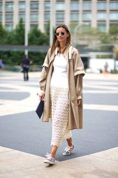 trench coat + white dress