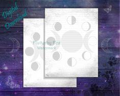 Moon Spells, Paper Moon, Moon Magic, Writing Paper, Moon Phases, Night Skies, Fox, Printables, Lettering
