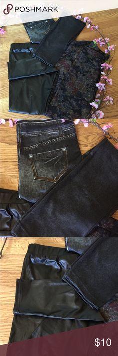 3 Size L BRAND NEW LEGGINGS Black look like leather leggings Floral leggings with plush inside for winter look like Jeans legging with plush inside for winter Pants Leggings
