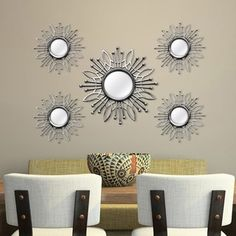 Decorate a bare wall in your home with Stratton Home Decor 5 Piece Champagne Burst Wall Mirror. With its champagne finish, this round mirror set is whimsical and pretty. Display it among pieces of contemporary decor for a chic look. Wall Mirrors Set, Small Mirrors, Wall Mounted Mirror, Round Wall Mirror, Mirror Set, Mirror Ideas, Spiegel Design, Sunburst Mirror, Flower Wall Decor