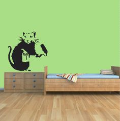 Rat with Paint roller, Banksy vinyl wall art decal - Design, Banksy, Decal Wall Art, Paint Roller, Wall Art Designs, Painting, Art