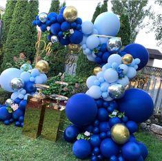 Noble Dark Blue Maca Blue Balloons Garlands Silver Gold Balloon Arch For Birthday Baby Shower Anniversary Party Decor Deco Baby Shower, Fiesta Baby Shower, Boy Baby Shower Themes, Baby Shower Balloons, Baby Shower Parties, Baby Boy Shower, Bridal Shower, Shower Party, Shower Games