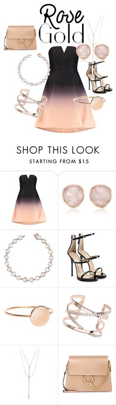 """Rose Gold Jewelry"" by babe-b8 ❤ liked on Polyvore featuring Halston Heritage, Monica Vinader, Irene Neuwirth, Giuseppe Zanotti, Dorothy Perkins, Lana, Chloé, contest, rosegold and contestentry"