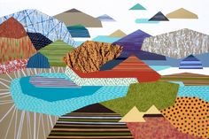 My Personal Landscape 20, Lucie Jirku. Geometric. Landscape. £2,000. Original large painting with mountains - colourful semi-abstract painting My Personal Landscape 20 was created in bright colours on standard edge canvas.