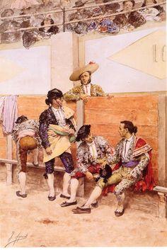 Descanso en la corrida de toros- Carmen Thyssen Bornemisza-  Joaquín Agrasot Juan (Orihuela, 24 de diciembre de 1836 - Valencia, 8 de enero de 1919) fue un pintor español, encuadrado en el género realista y costumbrista.